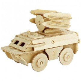 image of ROBOTIME 3D ARMOURED TRUCK WOODEN PUZZLE ENVIRONMENTAL ASSEMBLE TOY EDUCATIONAL GAME (WOOD) -