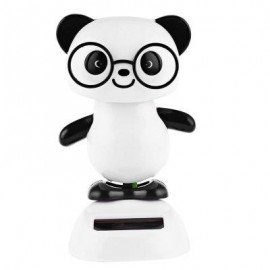 image of SOLAR ENERGY SHAKING PANDA HOUSE DECORATION CHRISTMAS GIFT (WHITE AND BLACK) -