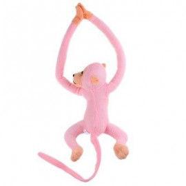 image of LONG ARM HANGING MONKEY PLUSH TOY STUFFED ANIMAL DOLL (SHALLOW PINK) 18.00 x 33.00 x 9.00 cm