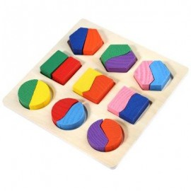 image of WOODEN 3D GEOMETRY STACKING IRREGULARITY BLOCK PUZZLE INTELLIGENCE TOY FOR CHILDREN (COLORMIX) -