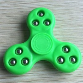 image of 9 BEADS FINGERTIP STRESS RELIEF TOY FINGER GYRO SPINNER (NEON GREEN) -
