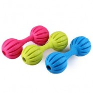 image of RUBBER PET DOG DUMBBELL SQUEAKER SQUEAKY WITH BELL FETCH CHEW TRAINING PLAY TOY TEETH CLEANING (RANDOM COLOR) -