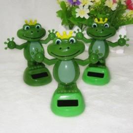 image of FROG FIGURE SOLAR SWING ORNAMENTATION GREEN ENERGY DECOR FOR FAMILY (GREEN) -