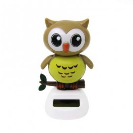 image of SOLAR ENERGY SHAKING OWL HOUSE DECORATION CHRISTMAS GIFT (BROWN) -