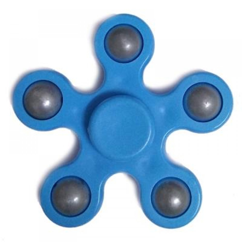 FLOWER SHAPE STRESS RELIEF TOY HAND SPINNER FINGER GYRO (BLUE) -