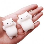 image of CUTE CARTOON LAZY SLEEPING CAT TPR SQUISHY TOY FUNNY STRESS RELIEVER RELAXATION GIFT DECOR (WHITE) -