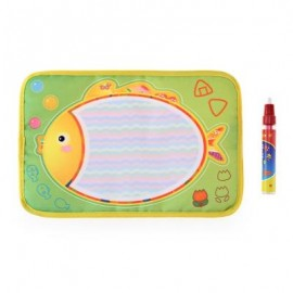 image of MAGIC CARTOON FISH WATER DRAWING WRITING MAT TOY WITH WATERCOLOR PEN FOR KIDS (COLORMIX) -