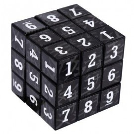 image of 3 X 3 X 3 SMALL ARABIC NUMBERS BRAIN TEASER IQ CUBE PUZZLE TOY (BLACK) -