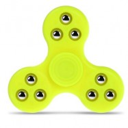 image of GYRO STRESS RELIEVER PRESSURE REDUCING TOY WITH NINE BEAD DECOR FOR OFFICE WORKER (YELLOW) -