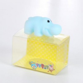 image of MINI CARTOON HIPPO TPR ANIMAL SQUISHY TOY FUNNY STRESS RELIEVER DECORATION GIFT (BLUE) -