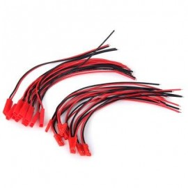 image of GENUINE 150MM JST CONNECTOR PLUG CABLE FOR RC BEC LIPO BATTERY (10 PAIRS) (RED) -