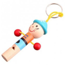 image of 1PC MINI CARTOON WHISTLE WOODEN BABY KID MUSICAL DEVELOPMENT TOY (COLORMIX) -