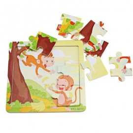 image of BABY WOODEN CARTOON ANIMAL PUZZLE EDUCATIONAL TOY (COLORMIX) -