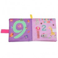image of CARTOON BABY ENGLISH LEARNING SOFT CLOTH BOOK EARLY DEVELOPMENT TOY (LIGHT PURPLE) -
