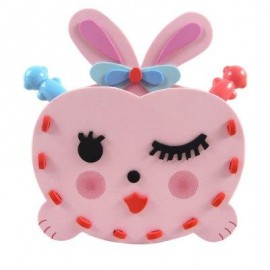 image of KID STEREOSCOPIC STICKER PEN CONTAINER HANDMADE STICKUP EDUCATIONAL TOY (PINK) RABBIT