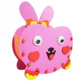 image of KID STEREOSCOPIC STICKER PEN CONTAINER HANDMADE STICKUP EDUCATIONAL TOY (ROSE RED) RABBIT