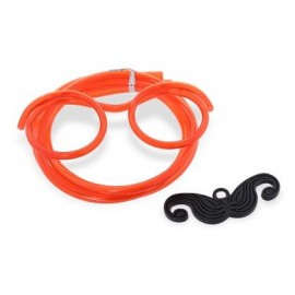 image of FUNNY DIY DRINKING GLASSES STRAW WITH MUSTACHE FOR PARTY (RED) -