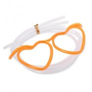 image of FUNNY HEART SHAPE DIY DRINKING GLASSES STRAW FOR PARTY (ORANGE RED) -