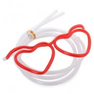 image of FUNNY HEART SHAPE DIY DRINKING GLASSES STRAW FOR PARTY (RED) -