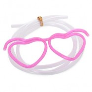 image of FUNNY HEART SHAPE DIY DRINKING GLASSES STRAW FOR PARTY (ROSE RED) -
