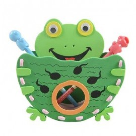 image of KID STEREOSCOPIC STICKER PEN CONTAINER HANDMADE STICKUP EDUCATIONAL TOY (GREEN) FROG