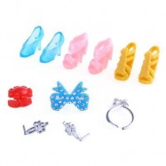 image of BABY DOLL SHOES NECKLACE RING ACCESSORIES TOY SET (COLORMIX) -