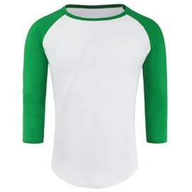 image of CREW NECK PANEL HALF RAGLAN SLEEVE T-SHIRT (WHITE AND GREEN) L
