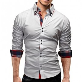 image of BUTTON DOWN DOUBLE LAYER COLLAR SHIRT (WHITE) 2XL