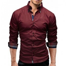 image of BUTTON DOWN DOUBLE LAYER COLLAR SHIRT (WINE RED) 2XL