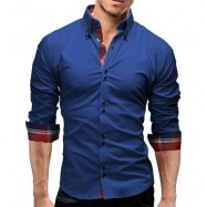 image of BUTTON DOWN DOUBLE LAYER COLLAR SHIRT (BLUE) 2XL