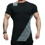ASYMMETRIC COLOR BLOCK SHORT SLEEVE TEE (GRAY) XL