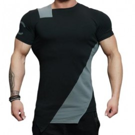 image of ASYMMETRIC COLOR BLOCK SHORT SLEEVE TEE (GRAY) XL