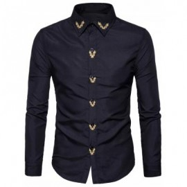 image of TURNDOWN COLLAR FLORAL EMBROIDERED SHIRT (BLACK) 2XL