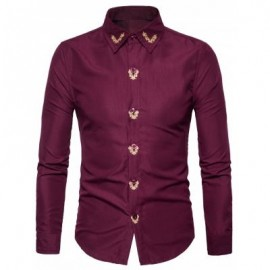 image of TURNDOWN COLLAR FLORAL EMBROIDERED SHIRT (WINE RED) XL