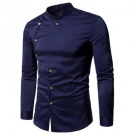 image of ASYMMETRICAL BUTTON UP MANDARIN COLLAR SHIRT (PURPLISH BLUE) XL