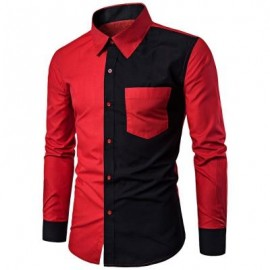 image of TWO TONE PANEL POCKET SHIRT (RED) 3XL