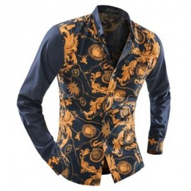 image of ORNATE PRINT LONG SLEEVE BUTTON-DOWN SHIRT FOR MEN (YELLOW) L
