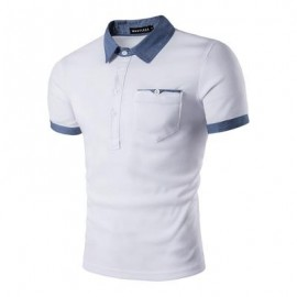image of DENIM SPLICING POCKET POLO T-SHIRT (WHITE) S
