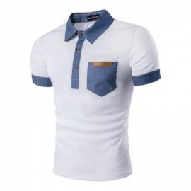 image of FAUX LEATHER DENIM PANEL POLO T-SHIRT (WHITE) M