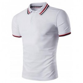 image of POLO T-SHIRT WITH STRIPED SLEEVE COLLAR (WHITE) M