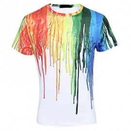 image of COLORFUL 3D PAINT SPLASHED PRINTED MALE SHORT SLEEVE T SHIRT (COLORMIX) XL