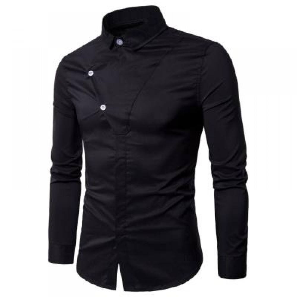 LONG SLEEVE COVERED BOTTON PANEL SHIRT (BLACK) M