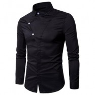 image of LONG SLEEVE COVERED BOTTON PANEL SHIRT (BLACK) M