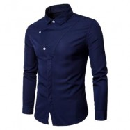 image of LONG SLEEVE COVERED BOTTON PANEL SHIRT (PURPLISH BLUE) L