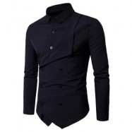 image of DOUBLE BREASTED LONG SLEEVE LAYERED SHIRT (BLACK) M