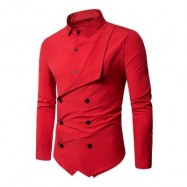 image of DOUBLE BREASTED LONG SLEEVE LAYERED SHIRT (RED) L