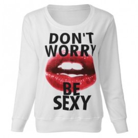 image of CASUAL ROUND COLLLAR LONG SLEEVE LIP PRINT WOMEN'S SWEATSHIRT S