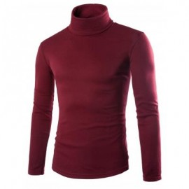 image of LONG SLEEVE TURTLENECK PLAIN T-SHIRT (RED) M