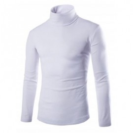 image of LONG SLEEVE TURTLENECK PLAIN T-SHIRT (WHITE) M