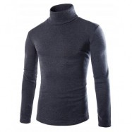 image of LONG SLEEVE TURTLENECK PLAIN T-SHIRT (DEEP GRAY) L